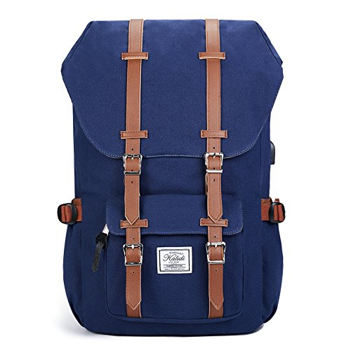 KALIDI Canvas, Casual Daypack mit USB Charge Port Backpack Schulrusack Laptoprucksack Rucksack, 50 cm, Blau