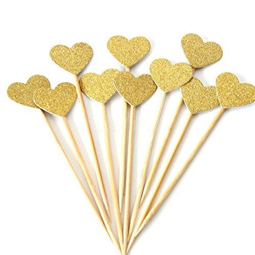 10 Geburtstag Kuchen Cupcake Topper Love Herz Baby Dusche Hochzeit Party Decor, silber, Einheitsgröße ...