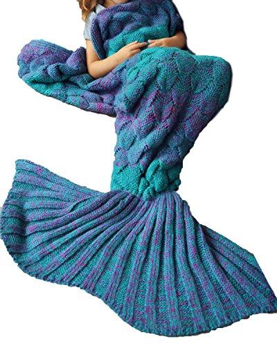 Cnfio Meerjungfrau Decke Weihnachtsgeschenke Geschenk für Kinder (140*90cm) Strickwolle gehäkelt Schlafsack Mermaid blanket