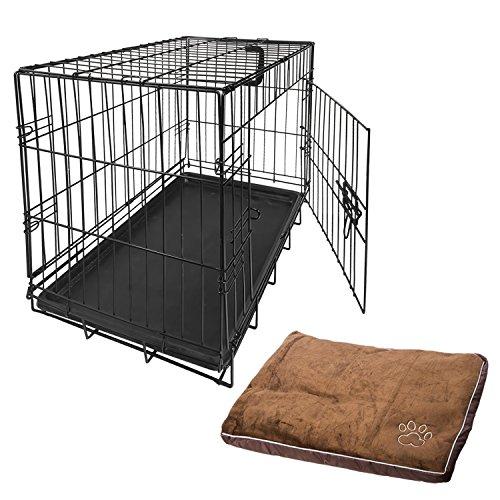 Nemaxx Transportbox Transportkäfig Drahtkäfig Klappbar Hundebox Hundekäfig Käfig Größe S in Schwarz + Kissen