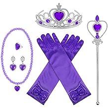 Kit de Accesorios de Disfraz de Princesa con Corona Varita Collar Guantes Anillos Pendientes, 8 Piezas (Morado)