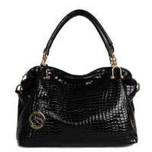 PACK Trend Handbags Ladies Messenger Borse Grandi Borsa A Tracolla Bright Skin Temperamento Generoso Luce Di Grande Capacità,B:Black B:Black