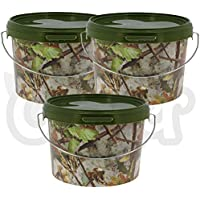 1 2 or 3 Airtight Round Camo 3L Litre NGT Fishing Tackle Bait Storage Buckets with Metal Handle