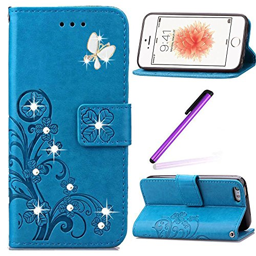 EMAXELERS iPhone 5C Hülle Hülle Glitzer Bling Cristal Schmetterling Clover PU Leder Wallet Case Standfunktion Karteneinschub Etui Handyhülle für iPhone 5C Hülle,Blue Clover and Butterfly (Case 5c Wallet Leder Iphone)