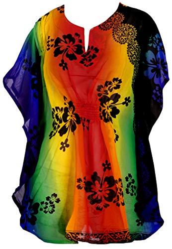 LA LEELA Robes de Plage Grande Taille Tunique Pull Femme Kimono Mousseline de Soie Bikini Cover Up Blouse Maillot De Bain Caftan Sarong Été Chemisier Haut Top Beachwear Swimsuit Sanglant Rouge_Y274