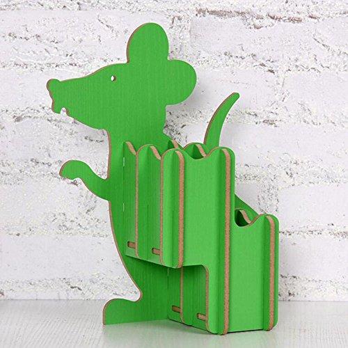 HAIZHEN Lagerregale Regal Creative Wood Sternzeichen Dekoratives Schreibtisch Umweltschutz Ratte Stifthalter Starke Stabilität (Farbe : Grün)