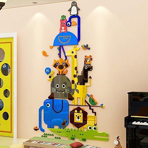 (Jungel Animal Wall Sticker 3D Happy Tree Wall Sticker Cartoon Elephant Giraffe Owl Wall Decals Wall Murals Decoration for Living Room Children Room Baby Nursery)