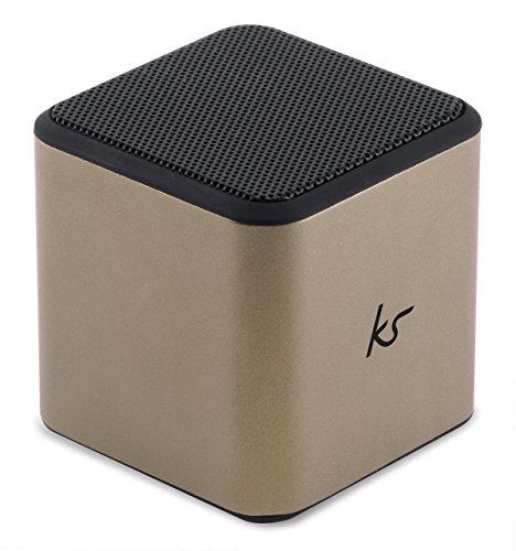 KitSound Cube Aufladbarer Tragbarer Bluetooth Lautsprecher mit 3,5 mm Audiokabel Kompatibel mit Smartphones, Tablets und MP3-Playern wie Samsung Galaxy S3/S4/S5/S6/S6 Edge/S6 Edge+/S7/S7 Edge, Note 2/3/4, Tab 2/3/4, iPhone 4/4S/5/5S/5C/SE/6/6 Plus/6S/6S Plus, iPad 2/3/4/Air/Mini/Pro, iPod Nano 7, Touch 5, Amazon Fire Phone, Xperia Z1/Z2/Z3, Xperia Tablet Z1/Z2/Z3/Z4, HTC One/One M8/One M9, HTC Desire Eye und Google Nexus 4/5/6/7/9/10 - Gold