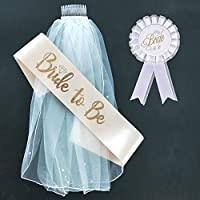 BigLion Hen Do veil Bride to be Sash Badge Wedding Bridal Shower Accessories Set Pack of 3