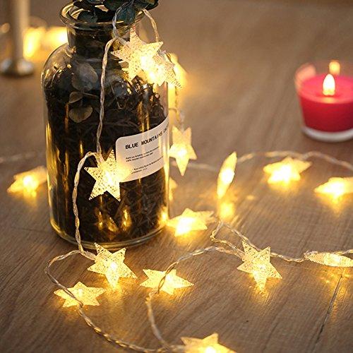 (ASCHOEN Led Lichterkette 40er Sterne USB Stromversorgung Timmungsbeleuchtung Dekoration für Party, Garten, Weihnachten, Halloween, Hochzeit, Beleuchtung Deko usw. 6M warm weiß)