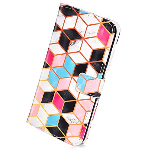 Herbests Kompatibel mit Samsung Galaxy J6 Plus 2018 Handyhülle Handytasche Glitzer Luxus Bling Glänzend Leder Tasche Brieftasche Schutzhülle Klappbar Leder Hülle Flip Cover Ständer,Cube