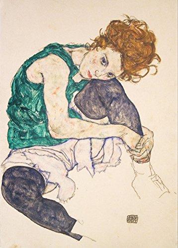 """EGON SCHIELE """"Sitzende Frau mit Beinen gezogen (Adele Herms), detail"""" 1917. 250 g/m², glänzend, Kunstdruck, A3, Reproduktion"""
