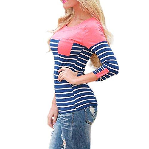 Damen Langarmshirts Longra Frauen gestreiftes langes Hülsen lose Blusen beiläufiges Hemd T-Shirt Pink