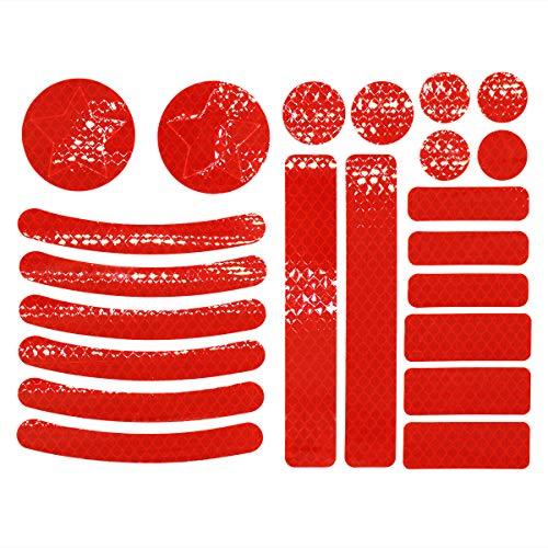 JCstarrie Adesivi Catarifrangenti Kit Adesivi Riflettenti 22 Pezzi, visibilità Notturna, Adesivo Universale per Bici, Auto, Passeggino, Casco, Moto, Scooter, Giocatto