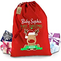 Personalised bambino primo natale renna rosso di Natale Babbo Natale Sacco XL