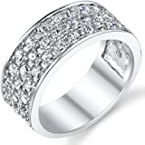Ultimate Metals Co. Sterling Silver Men's Wedding Band Engagement Ring With Cubic Zirconia CZ 9MM 3 Row Sizes 7 to 13