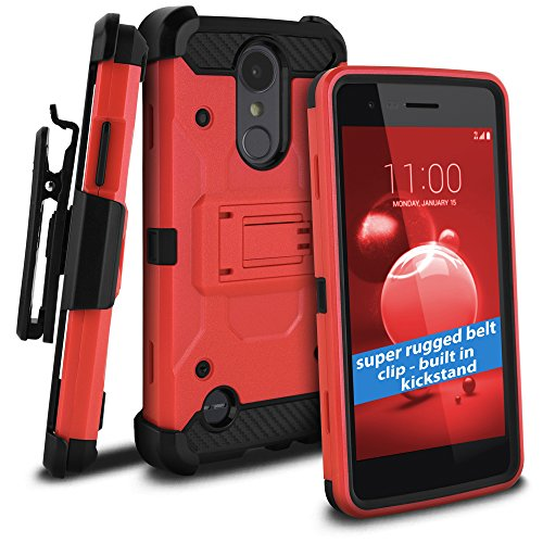 celljoy Fall Kompatibel mit LG Aristo 2, LG Tribute Dynasty, LG Zone 4(+ Mehr) [Tactical Carbon Hybrid] [Ultra Strong Klappetui] [Standfuß] Extreme Schutz Holster ((stoßfest)) Cover -, Rot T-mobile Carbon