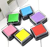 Domire SET of 6 Ink Pads For use with Rubber Stamps on Paper, Wood, Fabric
