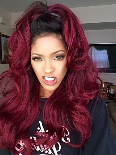 K'ryssma Sexy Ombre Dark Red Color Black Roots Wigs for Women Long Wavy Synthetic Lace Front Wig Natural Looking Realistic Heat Resistant Fiber Half Hand Tied 24 inches