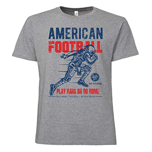 ShirtWorld - American Football - Quarterback - Herren T-Shirt Grau Melange M