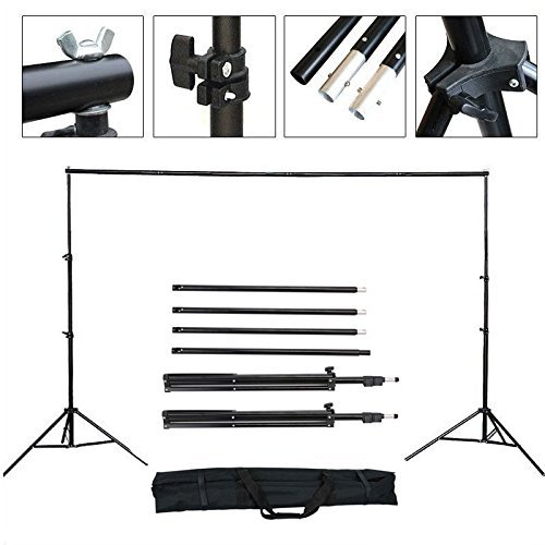 YISITONG Pro Portable Heavy-Duty Hintergrund-Support-System Kit 2m * 3m (6.6ft * 9.8ft) - Stativ ist einstellbar + Carry Bag - Foto Studio Backgrounds Kit