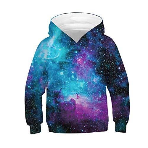 Hoody Kinder 3D Galaxy Hoodie Jungen Mädchen Kapuzenpullover Sweatshirt Langarm Casual Sport Shirts Tops L
