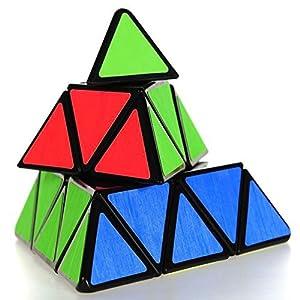 Coolzon® Pyramid Pyraminx Cubo Magico Triangolo Speed Puzzle Magic Cube Velocità Twisty Giocattolo PVC Adesivo,Nero