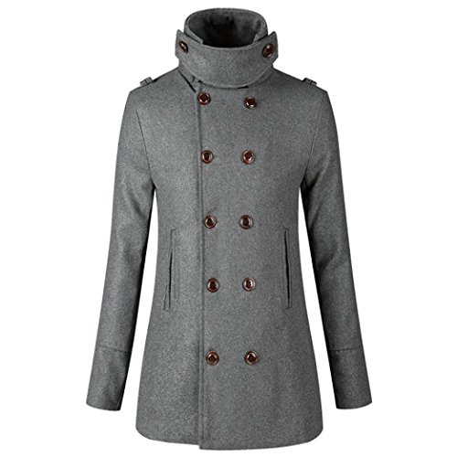 Mamum abbigliamento invernale, moda s doppio petto lungo trench autunno inverno con cintura kaki grigio nero (grigio, xl)
