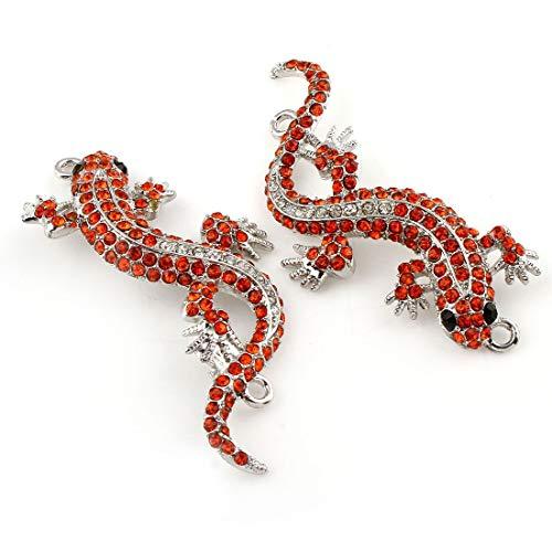 1pc Silber-Tone Versilbert Gecko Eidechse Zwei 2 Löcher Verbinder Anhänger Mit Strass-Schmuck-Metall Ergebnisse 23mm x 60mm x 4mm, Loch 2mm -