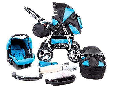 Kombi Kinderwagen Travel System Funbaby Speed Buggy Sportwagen Babyschale Autositz 0-10kg (schwarz türkis)