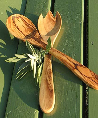 Salatbesteck PRIMAVERA, ca. 30 cm - Olivenholz geölt. Feine Maserung, handwerkliche Verarbeitung. Original FIGURA SANTA Manufaktur