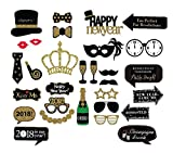 Veewon 2018 Bonne année Booth Photo Prothèses Party Stand Funny Photobooth Prop Kit - 31 Count