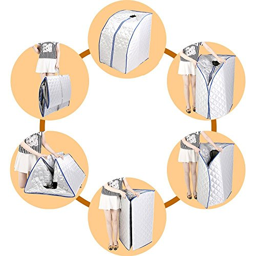 Mophorn Infrarotsauna Portable 1000 Watt Wärmekabine mit Ferninfrarot Dampfsauna Platzsparend Sauna Silber -