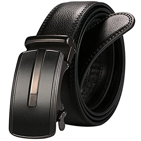 ManChDa Black Mens Rectangle Frosted Auto Lock Buckle with Leather Belt 49.2 inches