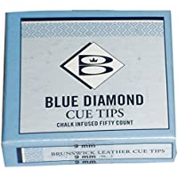 Brunswick Unisex Diamond puntas de palo de billar, 10 mm, caja de 50, color azul