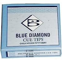 Brunswick Unisex Diamond Puntas de Palo de Billar, 10mm, Caja DE 50, Color Azul