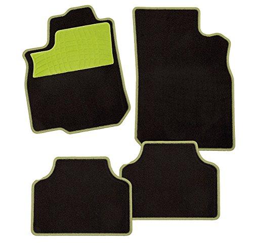 CarFashion 240241Colori Apfelgrün C03 | Auto Fussmatte in schwarz | Automatten | grüner Trittschutz | grüne Hochglanz Kettelung | Auto Fussmatten Set ohne Mattenhalter