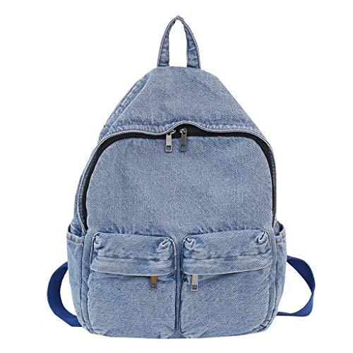 Rcool Zaino Zaino Jeans Donna per Borse a zainetto, Tela Donna Elegante, Borsa Zainetto Universita Casual Backpack Ragazze per Viaggio Scuola
