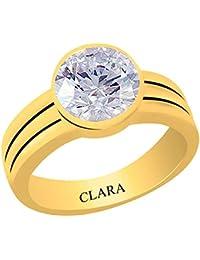 Clara Certified Zircon 6.5 carat or 7.25ratti Panchdhatu Gold Plating Astrological Ring For Men & Women