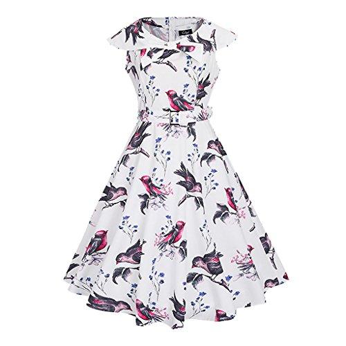 MNBS Femme Ourlet Mode Élégant Robes Vintage Classique 1950S Style Oiseau Blanc