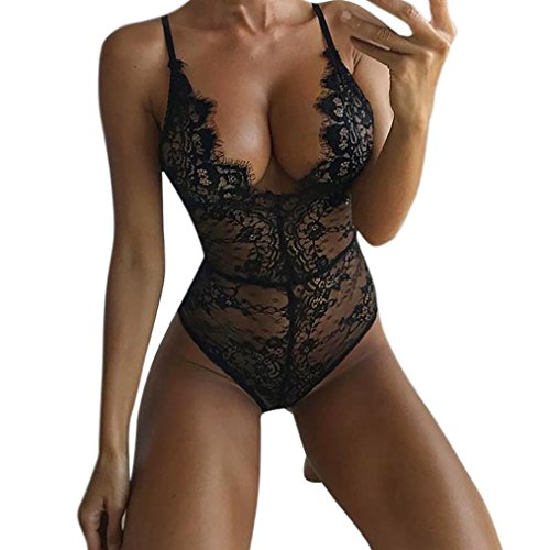 Dessous Set Damen Sonnena Spitze Siamesische Unterwäsche Jumpsuit Pyjama Babydoll Nachtwäsche Lingeries Reizwäsche Frauen Korsett Unterwäsche Nachthemd Bodysuit Push Up Top BH (XL, Sexy Black) (Bodystocking Black Lace)