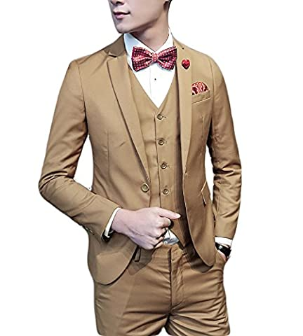 Mens Single Breasted Slim Fit One Button Three Piece Men's Suit with Vest Wedding Prom Party