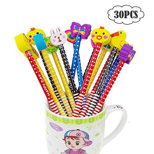 30pcs Lápices Infantiles Con Borrador de Dibujos Animados Multicolores Hb Lápices Escolares Divertidos Kawaii de Madera Regalo de Cumpleaños Para Niños