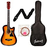 #10: Juarez JRZ38C 6 Strings Acoustic Guitar 38 Inch Cutaway, Right Handed, 3TS Sunburst with Bag, Strings, Picks and Strap