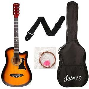 Juârez Acoustic Guitar, 38 Inch Cutaway, JRZ38C with Bag, Strings, Pick and Strap, 3TS Sunburst