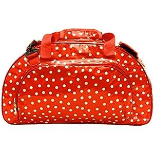 bunte Sporttasche - Schwimmtasche - Reisetasche - Weekender aus Wachstuch, für Damen, wasserdicht, Lunares rot