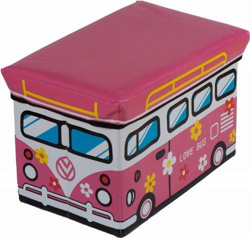 Bieco 4931304 - Staubox und Sitzbank Love Bus, 49 x 31 x 31 cm