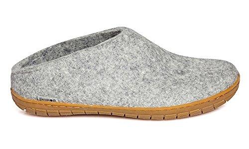 Glerups Modell BR Modischer Erwachsenen Hausschuh für Damen & Herren aus Wolle, rutschfester Gummisohle, hinten offen, entspricht dem Modell Glerups B nur mit Gummisohle Grau (grey), EU 36