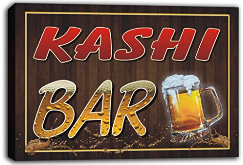 scw3-077077-kashi-name-home-bar-pub-beer-mugs-cheers-stretched-canvas-print-sign