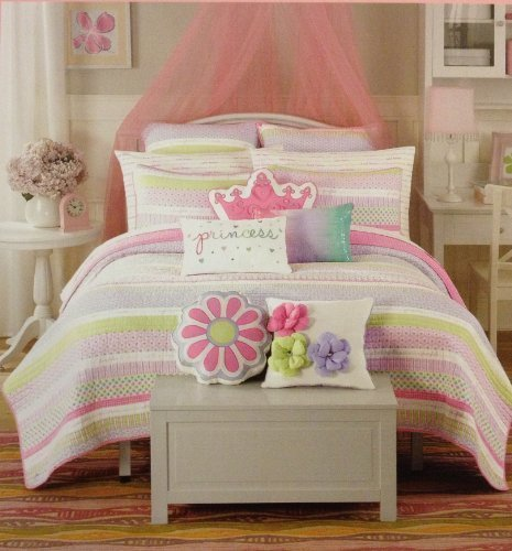 Maggie Miller Super Soft Twin Sheet Set - Lavender, Pink, and Lime Green Printed Sweet Dreams on White by Maggie Miller
